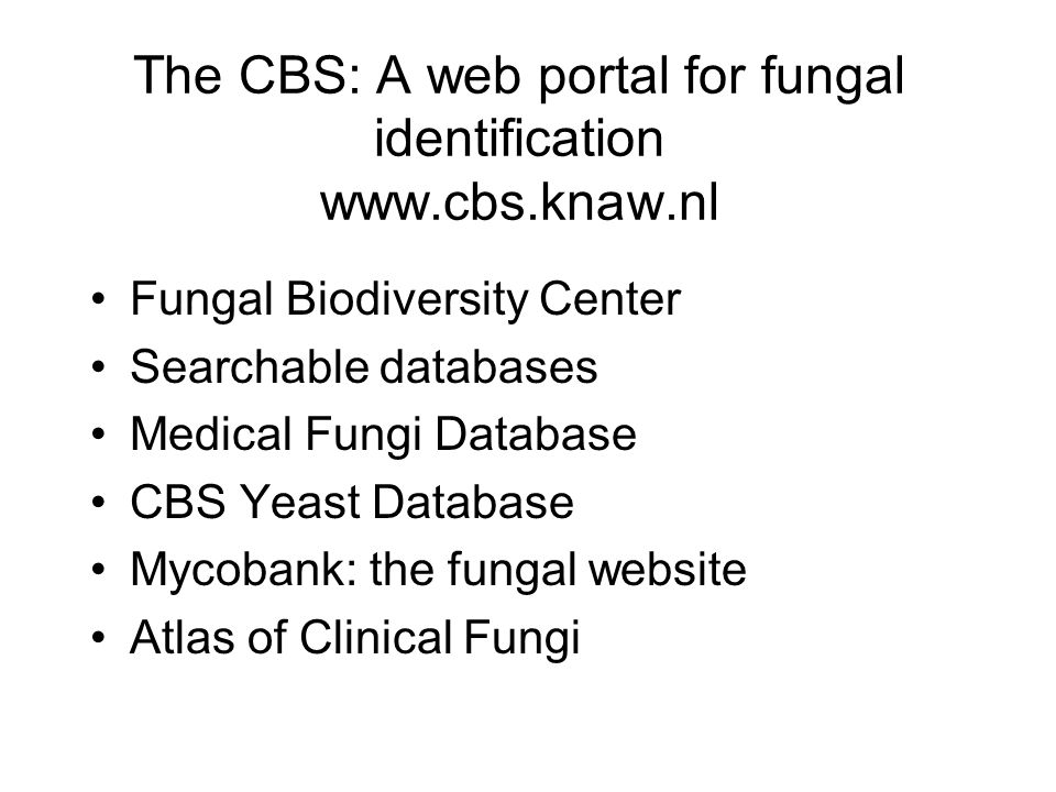 The CBS: A web portal for fungal identification   Fungal Biodiversity Center Searchable databases Medical Fungi Database CBS Yeast Database Mycobank: the fungal website Atlas of Clinical Fungi