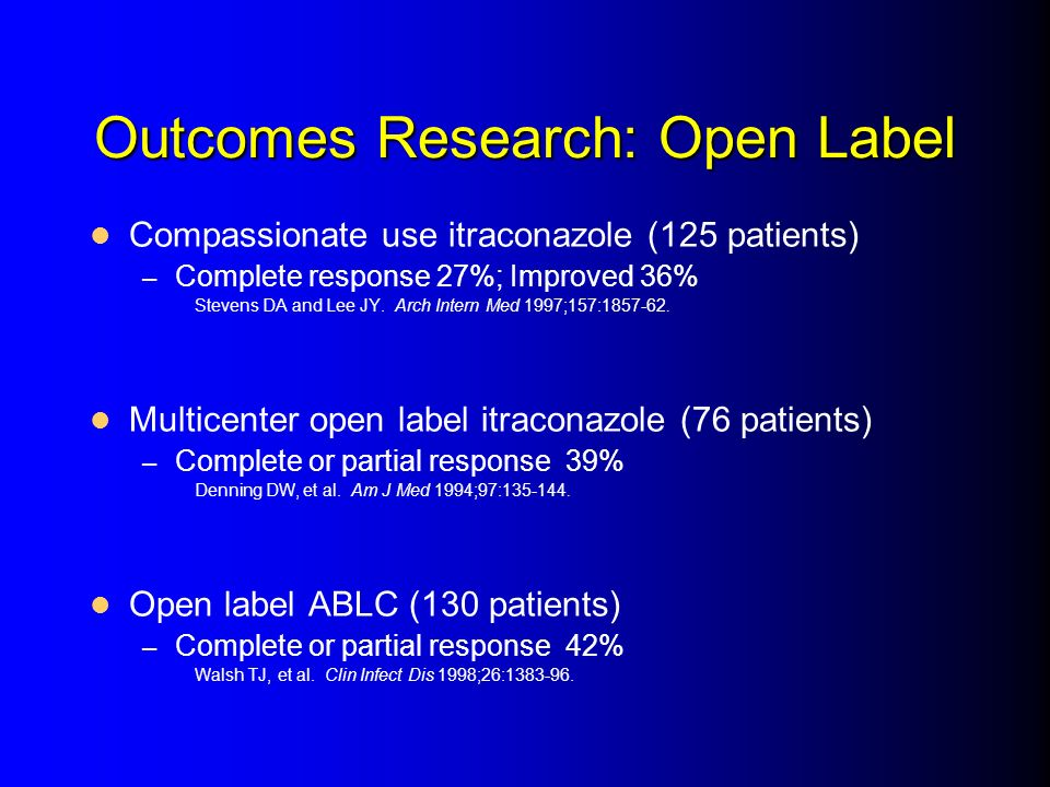 Outcomes Research: Open Label Compassionate use itraconazole (125 patients) – Complete response 27%; Improved 36% Stevens DA and Lee JY. Arch Intern M