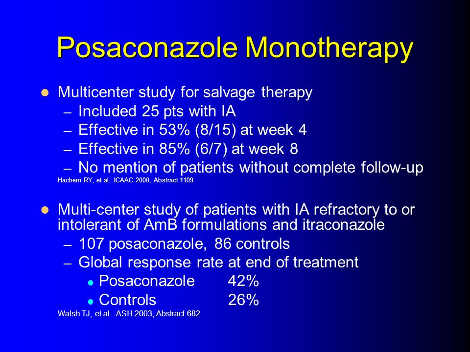 Posaconazole Monotherapy Multicenter study for salvage therapy – Included 25 pts with IA – Effective in 53% (8/15) at week 4 – Effective in 85% (6/7)