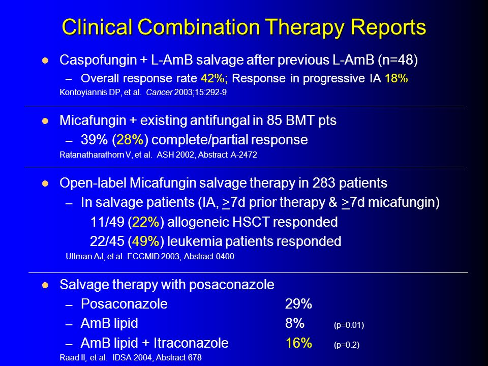 Clinical Combination Therapy Reports Caspofungin + L-AmB salvage after previous L-AmB (n=48) – Overall response rate 42%; Response in progressive IA 1