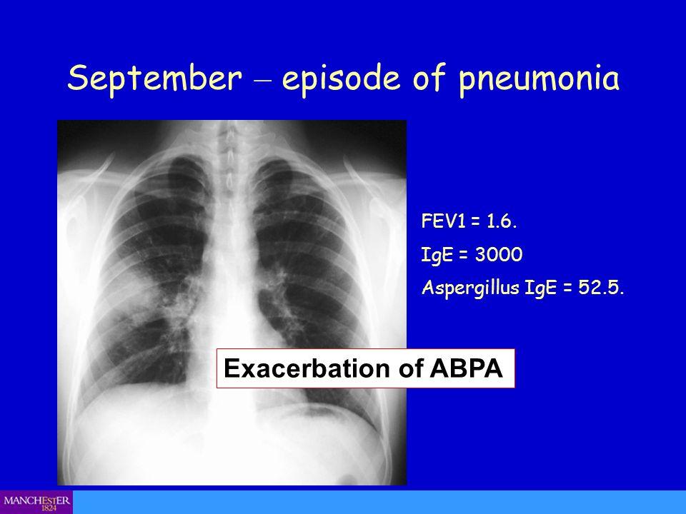 September – episode of pneumonia FEV1 = 1.6. IgE = 3000 Aspergillus IgE = 52.5. Exacerbation of ABPA