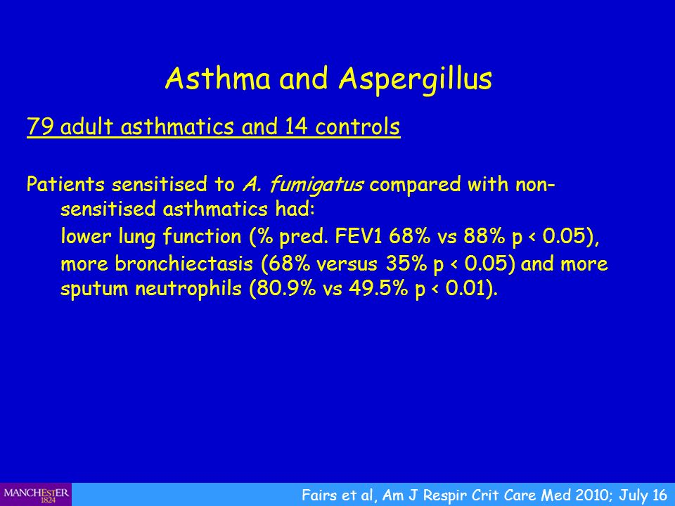 Asthma and Aspergillus Fairs et al, Am J Respir Crit Care Med 2010; July 16 79 adult asthmatics and 14 controls Patients sensitised to A. fumigatus co