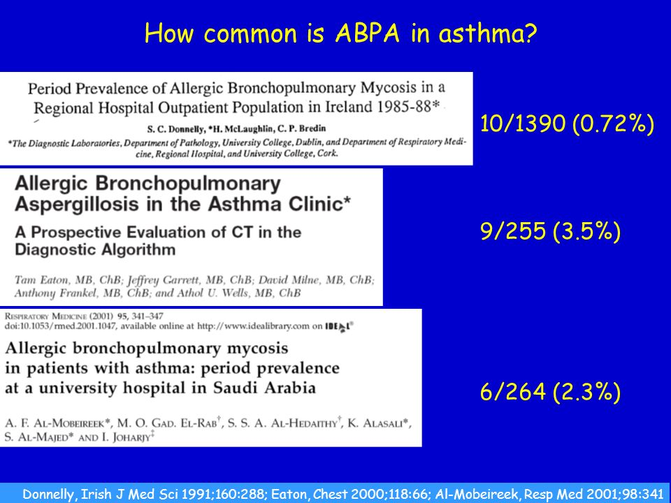 CLASSIFICATION OF ASPERGILLOSIS Persistence without disease - colonisation of the airways or nose/sinuses Airways/nasal exposure to airborne Aspergillus Invasive aspergillosis Acute (<1 month course) Subacute/chronic necrotising (1-3 months) Chronic aspergillosis (>3 months) Chronic cavitary pulmonary Aspergilloma of lung Chronic fibrosing pulmonary Chronic invasive sinusitis Maxillary (sinus) aspergilloma Allergic Allergic bronchopulmonary (ABPA) Extrinsic allergic (broncho)alveolitis (EAA) Asthma with fungal sensitisation Allergic Aspergillus sinusitis (eosinophilic fungal rhinosinusitis)