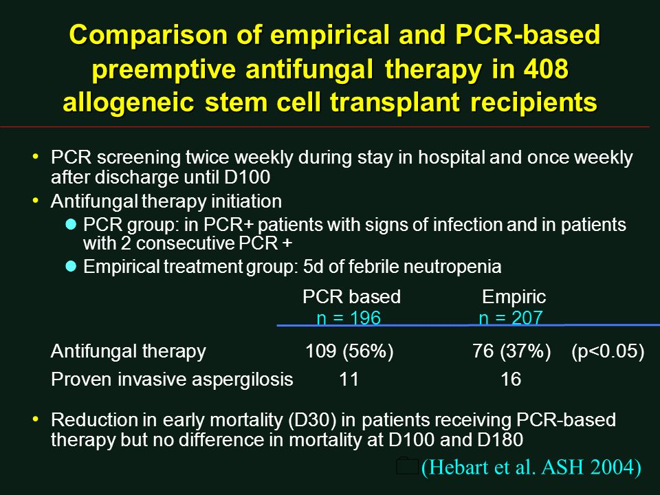 PCR screening twice weekly during stay in hospital and once weekly after discharge until D100 Antifungal therapy initiation lPCR group: in PCR+ patien