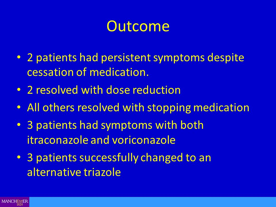Outcome 2 patients had persistent symptoms despite cessation of medication. 2 resolved with dose reduction All others resolved with stopping medicatio