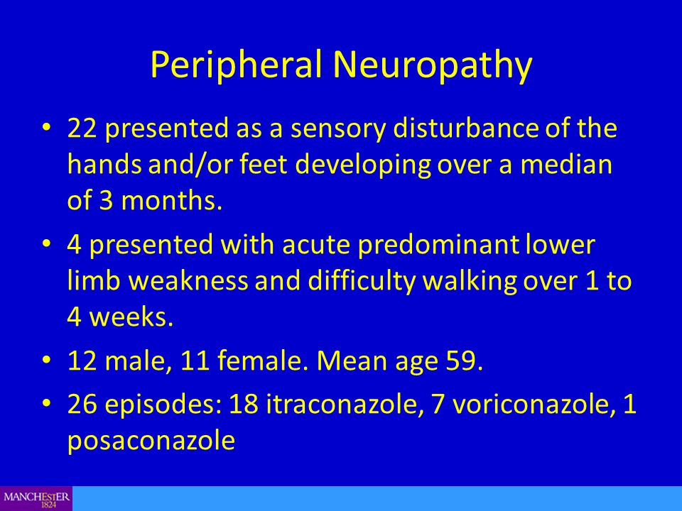 Peripheral Neuropathy 22 presented as a sensory disturbance of the hands and/or feet developing over a median of 3 months. 4 presented with acute pred