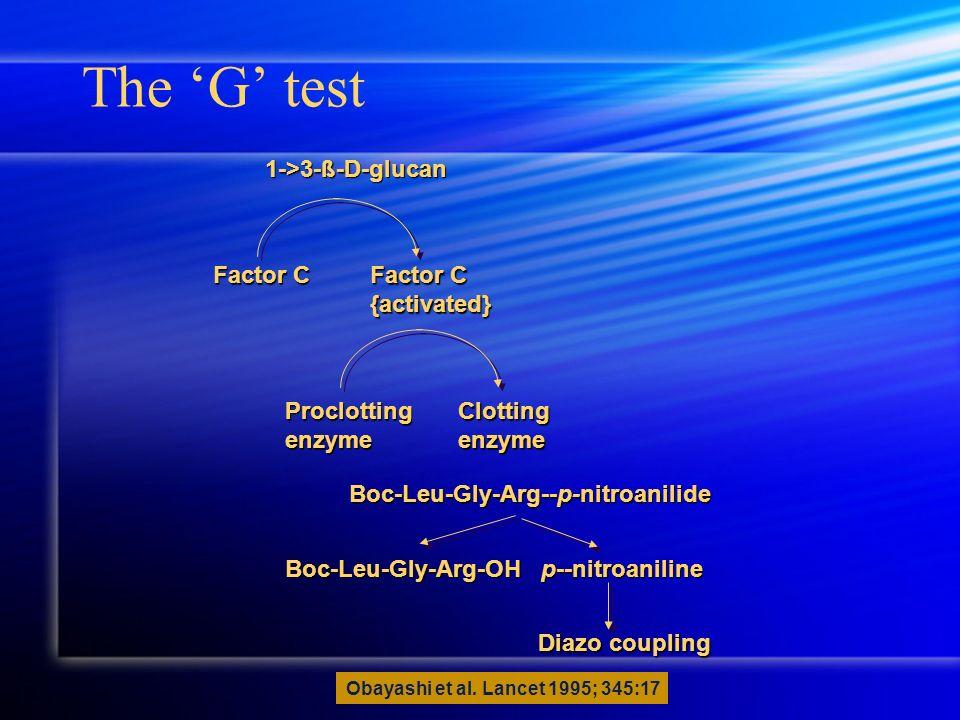 The G test 1->3-ß-D-glucan Boc-Leu-Gly-Arg--p-nitroanilide Boc-Leu-Gly-Arg-OH p--nitroaniline Diazo coupling Factor C {activated} ProclottingenzymeClo