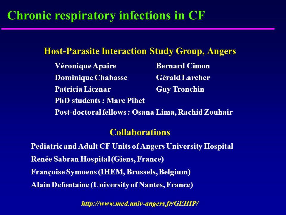 Host-Parasite Interaction Study Group, Angers Véronique ApaireBernard Cimon Dominique Chabasse Gérald Larcher Patricia Licznar Guy Tronchin PhD studen