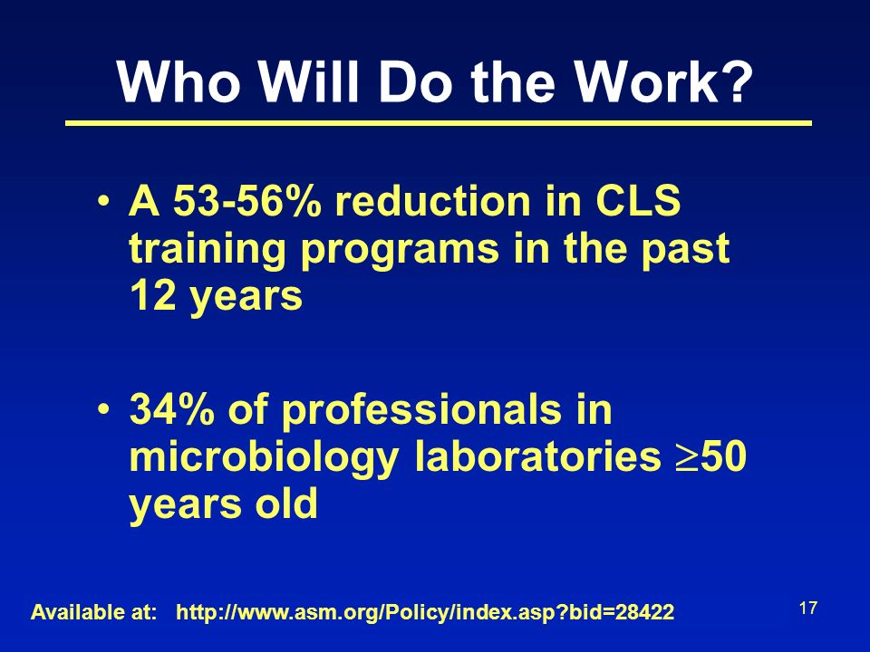 17 Who Will Do the Work? A 53-56% reduction in CLS training programs in the past 12 years 34% of professionals in microbiology laboratories 50 years o
