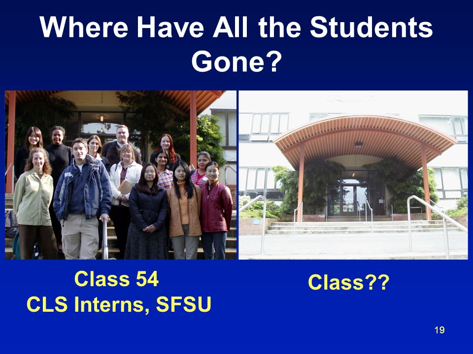 19 Where Have All the Students Gone? Class 54 CLS Interns, SFSU Class??