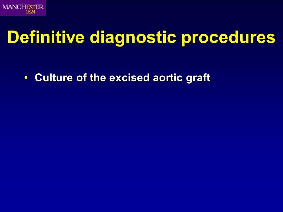 Definitive diagnostic procedures Culture of the excised aortic graftCulture of the excised aortic graft