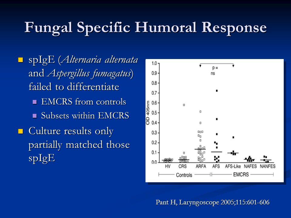 Fungal Specific Humoral Response spIgE (Alternaria alternata and Aspergillus fumagatus) failed to differentiate spIgE (Alternaria alternata and Asperg