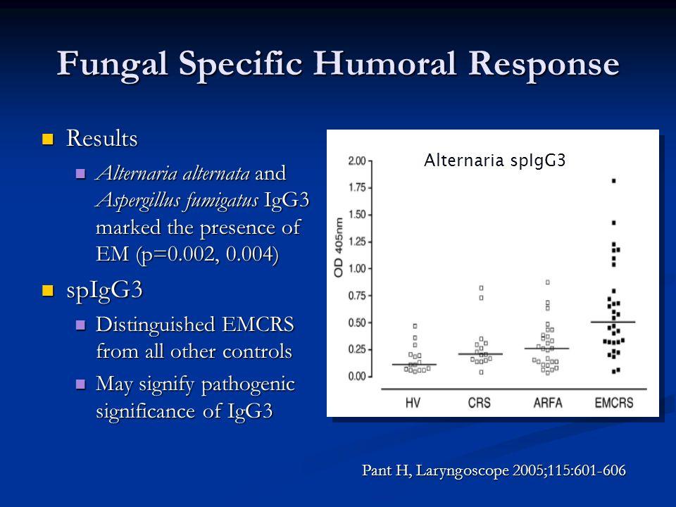 Fungal Specific Humoral Response Results Results Alternaria alternata and Aspergillus fumigatus IgG3 marked the presence of EM (p=0.002, 0.004) Altern