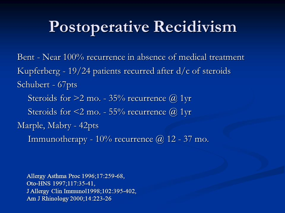 Postoperative Recidivism Bent - Near 100% recurrence in absence of medical treatment Kupferberg - 19/24 patients recurred after d/c of steroids Schube