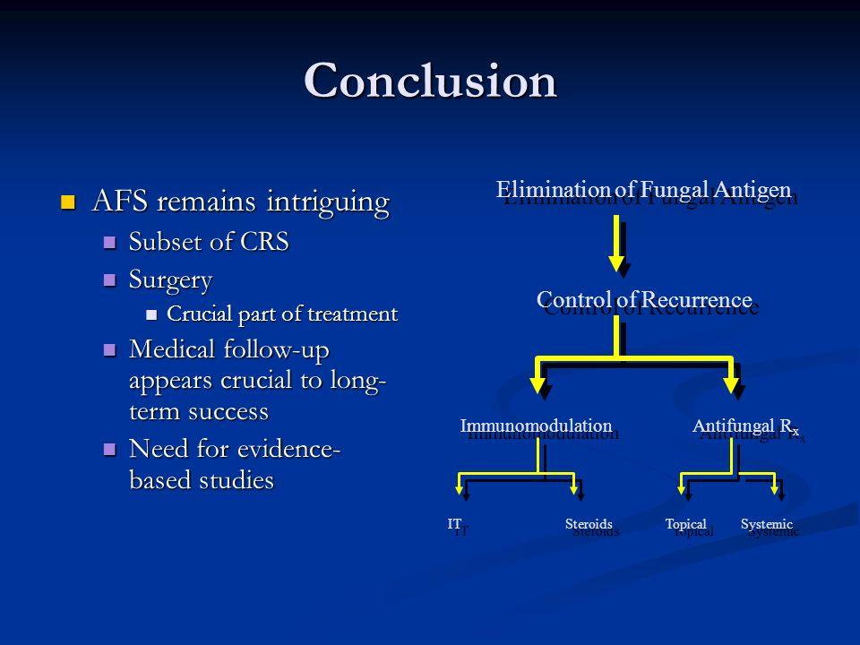 Elimination of Fungal Antigen Control of Recurrence Immunomodulation Antifungal R x IT Steroids Topical Systemic Elimination of Fungal Antigen Control