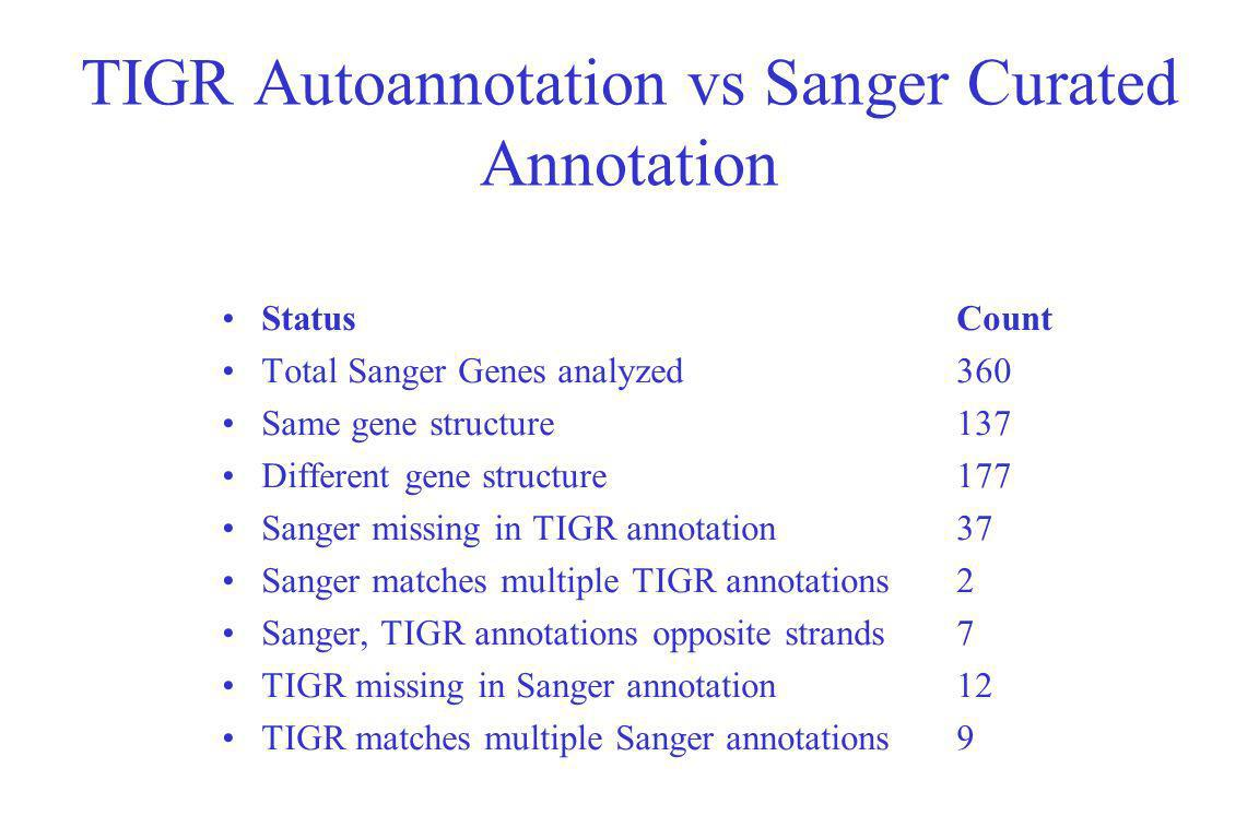 TIGR Autoannotation vs Sanger Curated Annotation StatusCount Total Sanger Genes analyzed360 Same gene structure137 Different gene structure177 Sanger