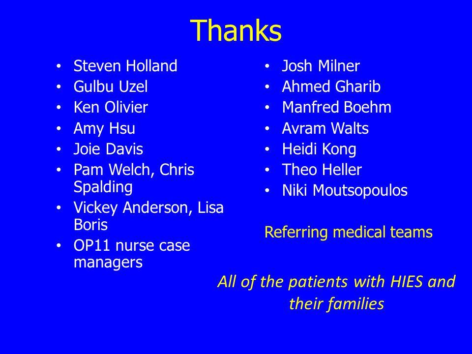 Thanks Steven Holland Gulbu Uzel Ken Olivier Amy Hsu Joie Davis Pam Welch, Chris Spalding Vickey Anderson, Lisa Boris OP11 nurse case managers Josh Mi