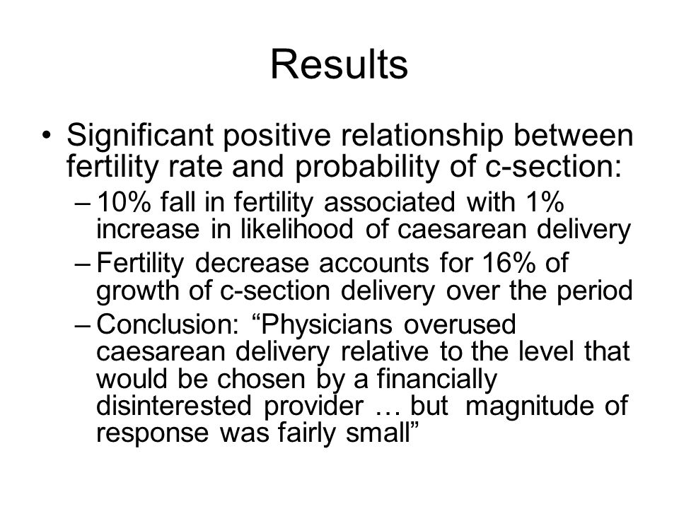 Results Significant positive relationship between fertility rate and probability of c-section: –10% fall in fertility associated with 1% increase in l