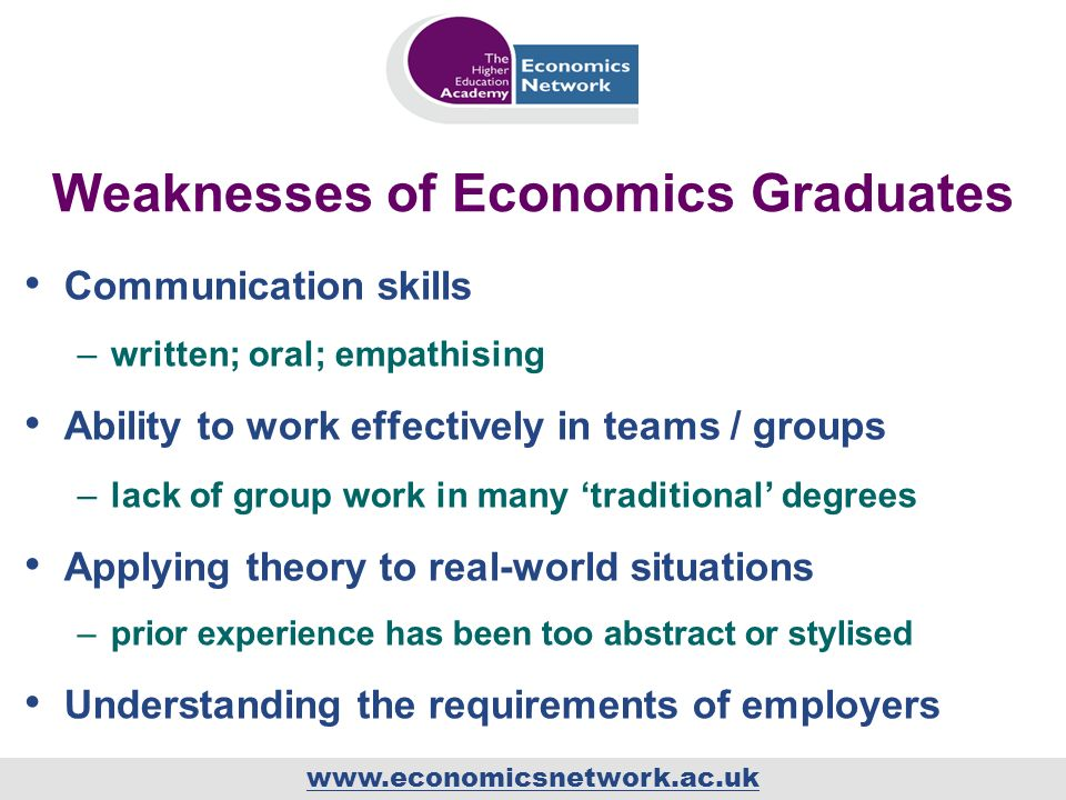 www.economicsnetwork.ac.uk Weaknesses of Economics Graduates Communication skills –written; oral; empathising Ability to work effectively in teams / groups –lack of group work in many traditional degrees Applying theory to real-world situations –prior experience has been too abstract or stylised Understanding the requirements of employers