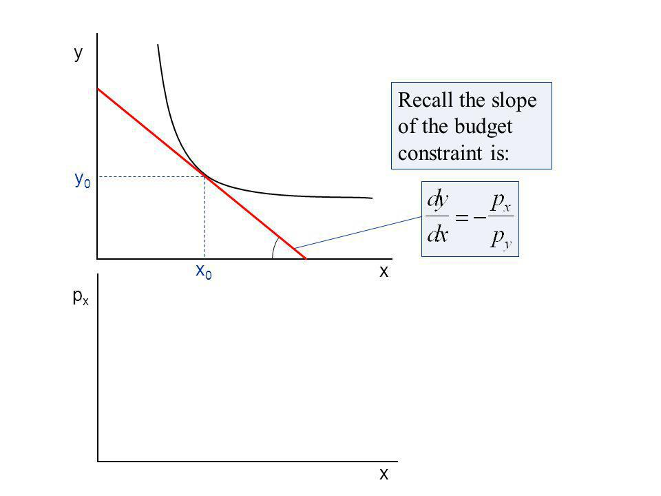 Next we draw in the indifference curves showing the consumers tastes for x and y.