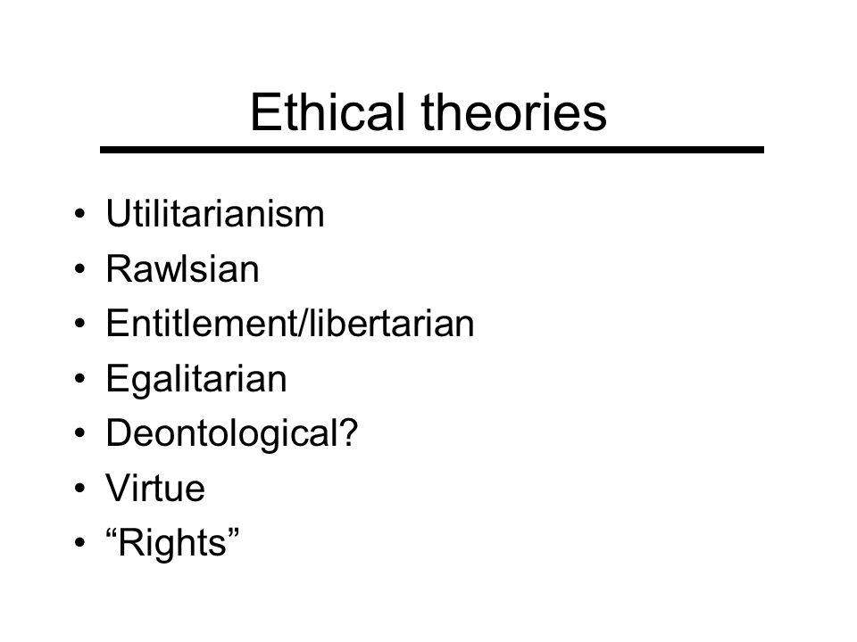 Ethical theories Utilitarianism Rawlsian Entitlement/libertarian Egalitarian Deontological? Virtue Rights