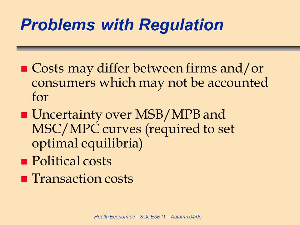Health Economics – SOCE3B11 – Autumn 04/05 Problems with Regulation n Costs may differ between firms and/or consumers which may not be accounted for n