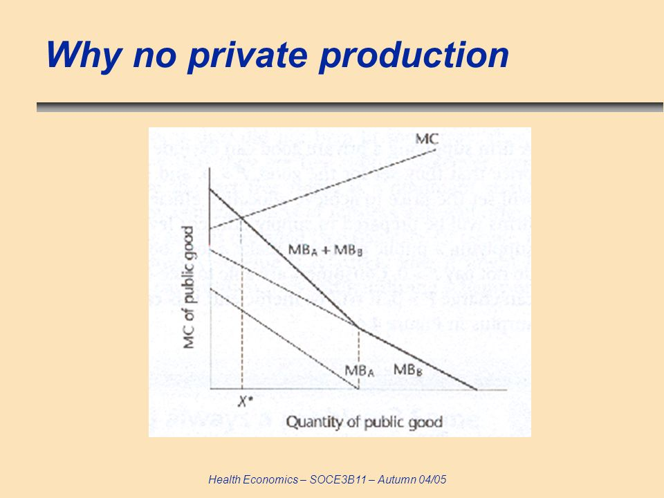 Health Economics – SOCE3B11 – Autumn 04/05 Why no private production