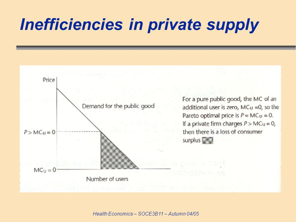 Health Economics – SOCE3B11 – Autumn 04/05 Inefficiencies in private supply
