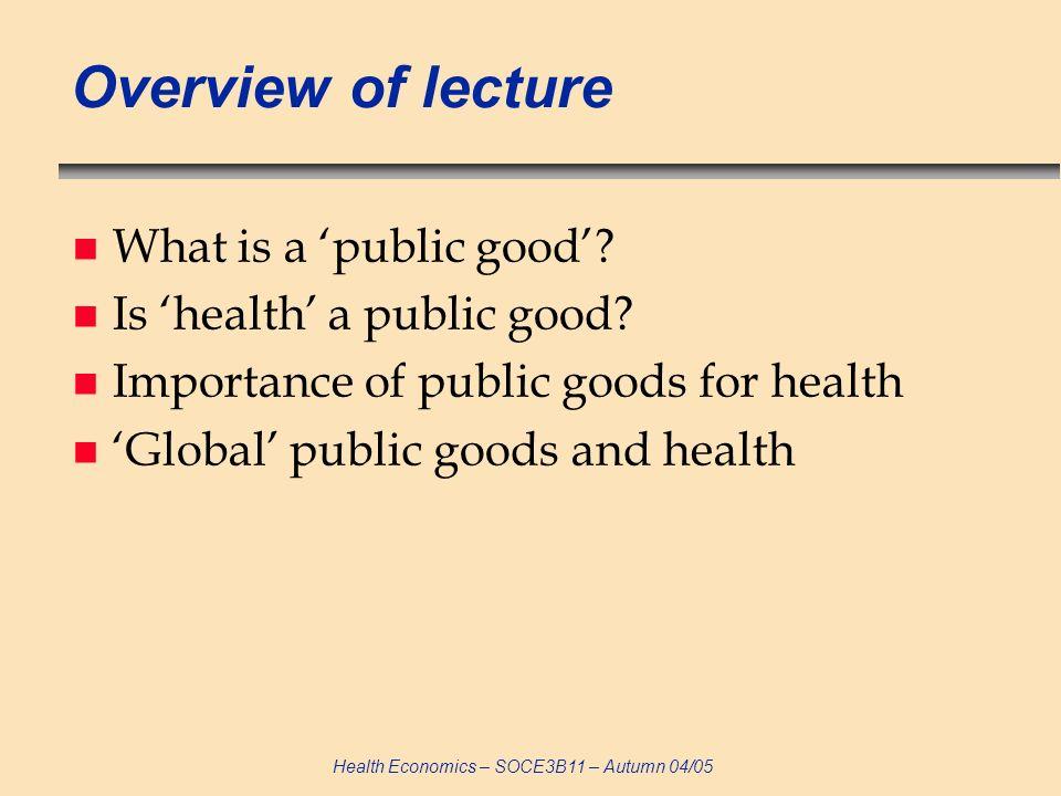 Health Economics – SOCE3B11 – Autumn 04/05 Private market demand curve