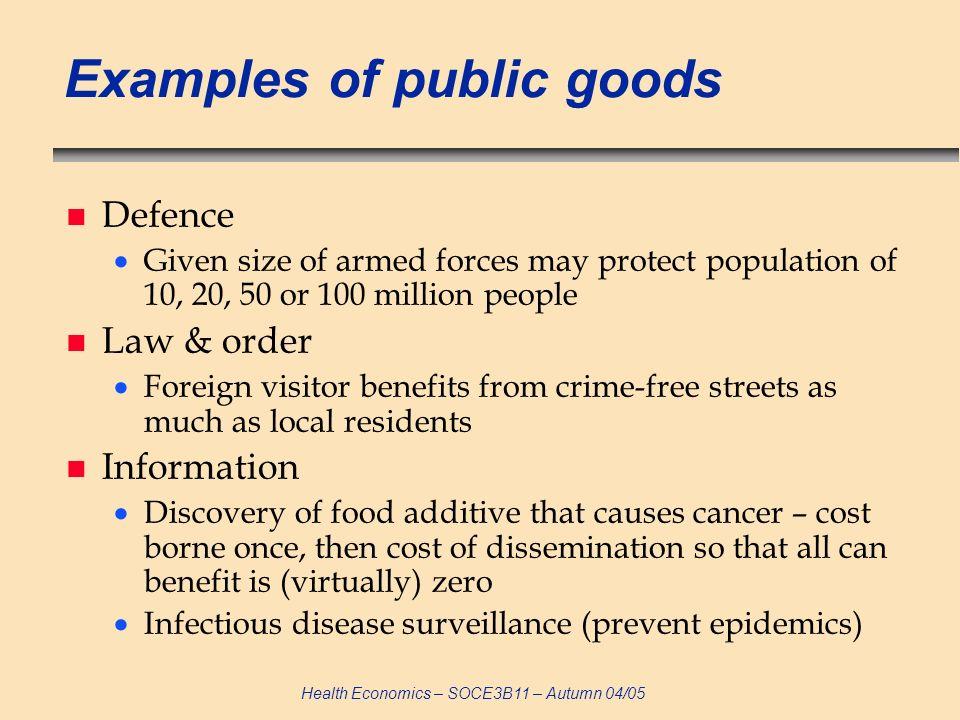 Health Economics – SOCE3B11 – Autumn 04/05 Is health a public good.