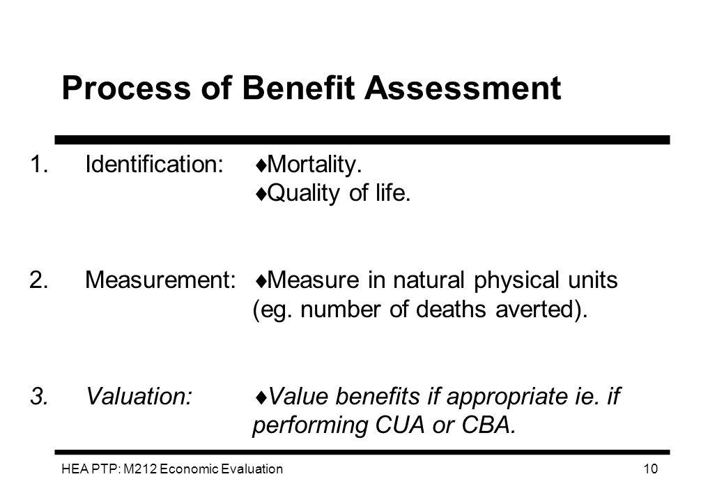 HEA PTP: M212 Economic Evaluation 10 Process of Benefit Assessment 1.Identification: 2.Measurement: 3.Valuation: Mortality. Quality of life. Measure i