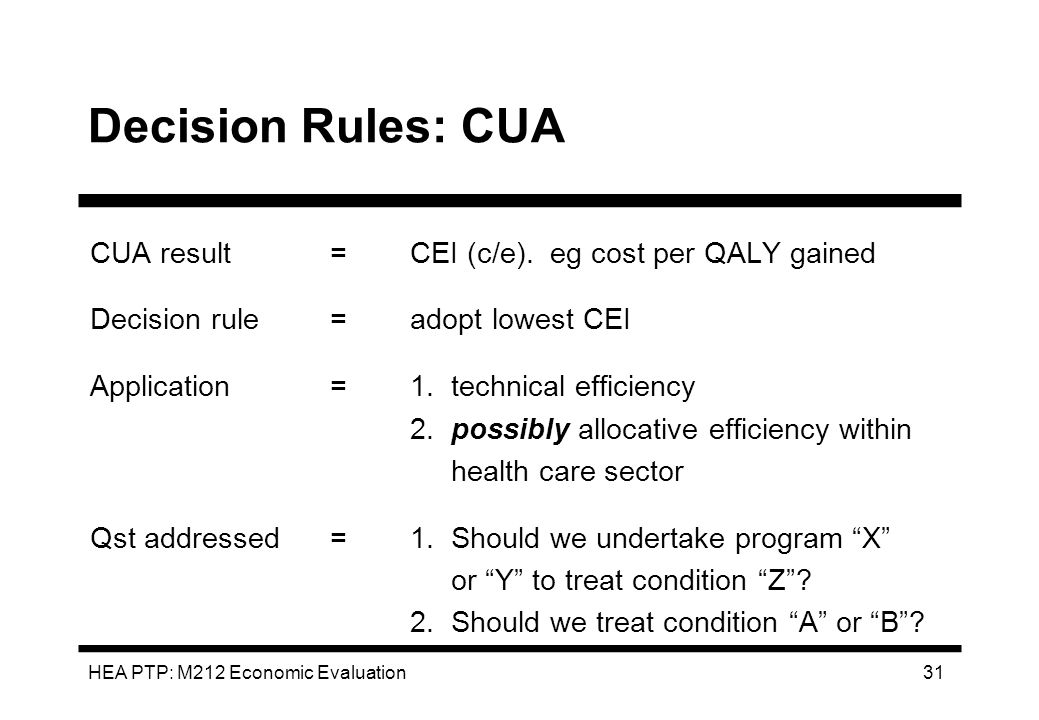 HEA PTP: M212 Economic Evaluation 31 Decision Rules: CUA CUA result=CEI (c/e). eg cost per QALY gained Decision rule=adopt lowest CEI Application=1. t