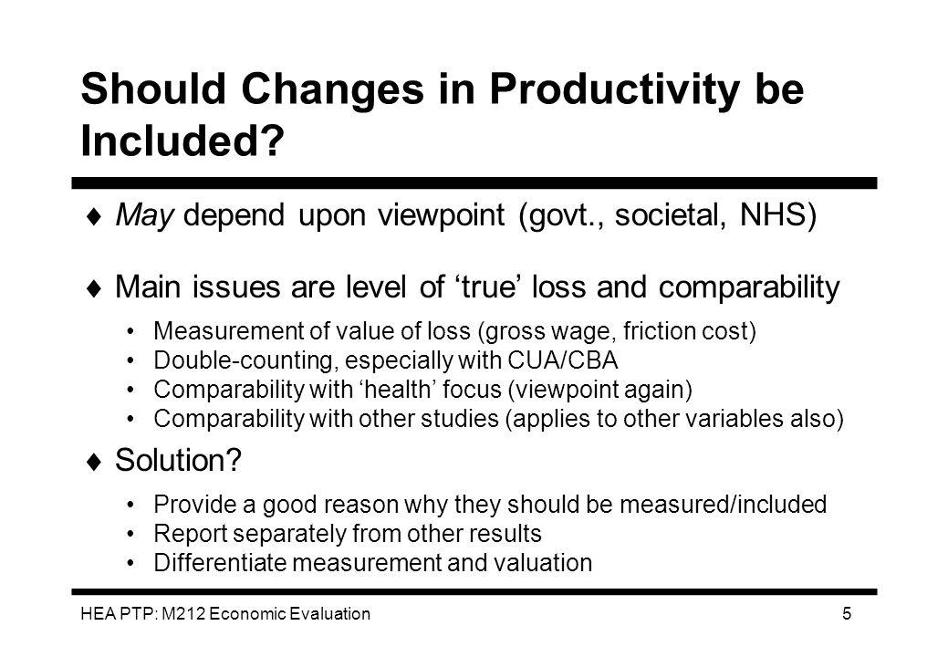 HEA PTP: M212 Economic Evaluation 6 Should Benefits be Discounted.