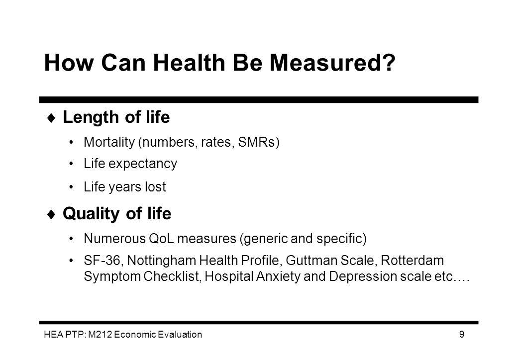 HEA PTP: M212 Economic Evaluation 10 Process of Benefit Assessment 1.Identification: 2.Measurement: 3.Valuation: Mortality.