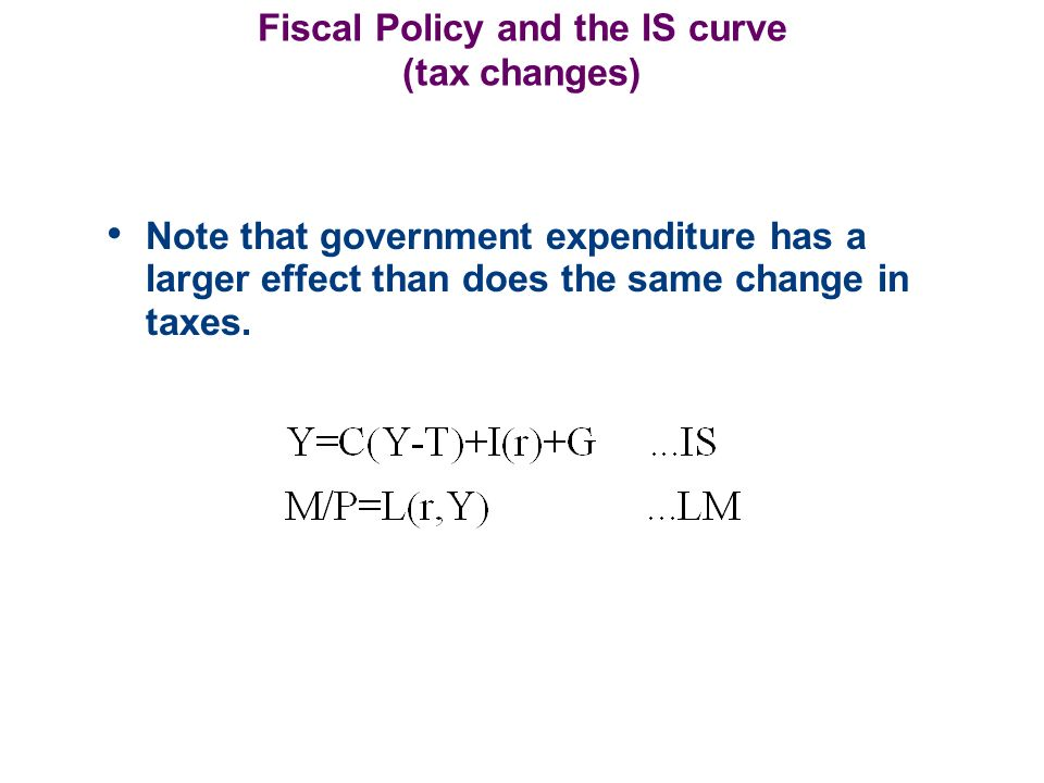 Fiscal Policy and the IS curve (tax changes) Note that government expenditure has a larger effect than does the same change in taxes.