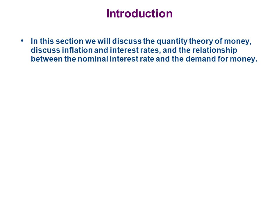 The Quantity Equation This model allows us to see the effect that the quantity of money has on the economy.
