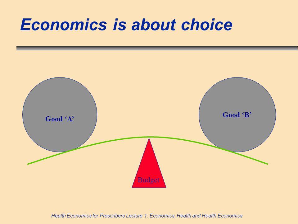 Health Economics for Prescribers Lecture 1: Economics, Health and Health Economics Economics is about choice Budget Good A Good B
