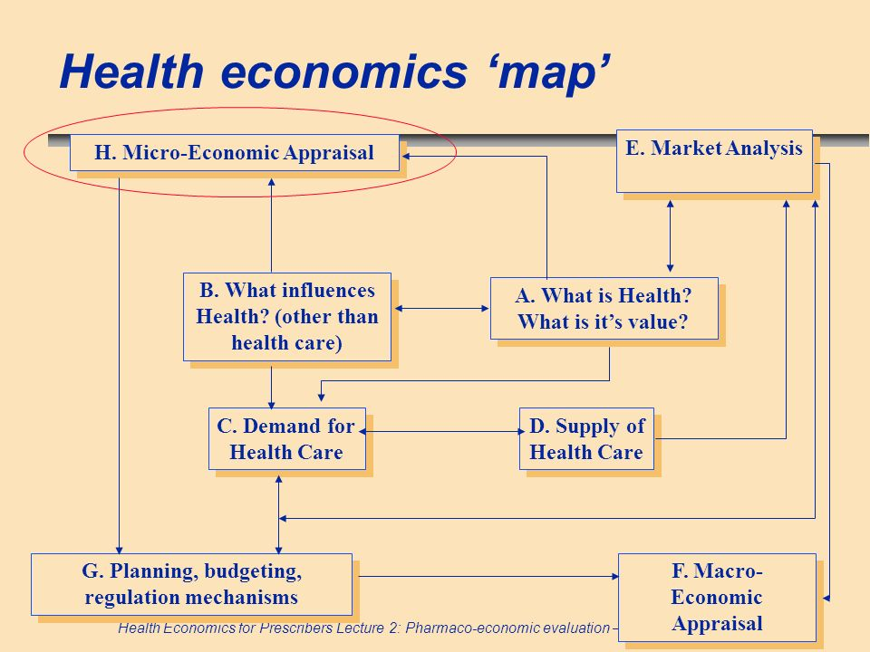 Health Economics for Prescribers Lecture 2: Pharmaco-economic evaluation – research question Health economics map B. What influences Health? (other th