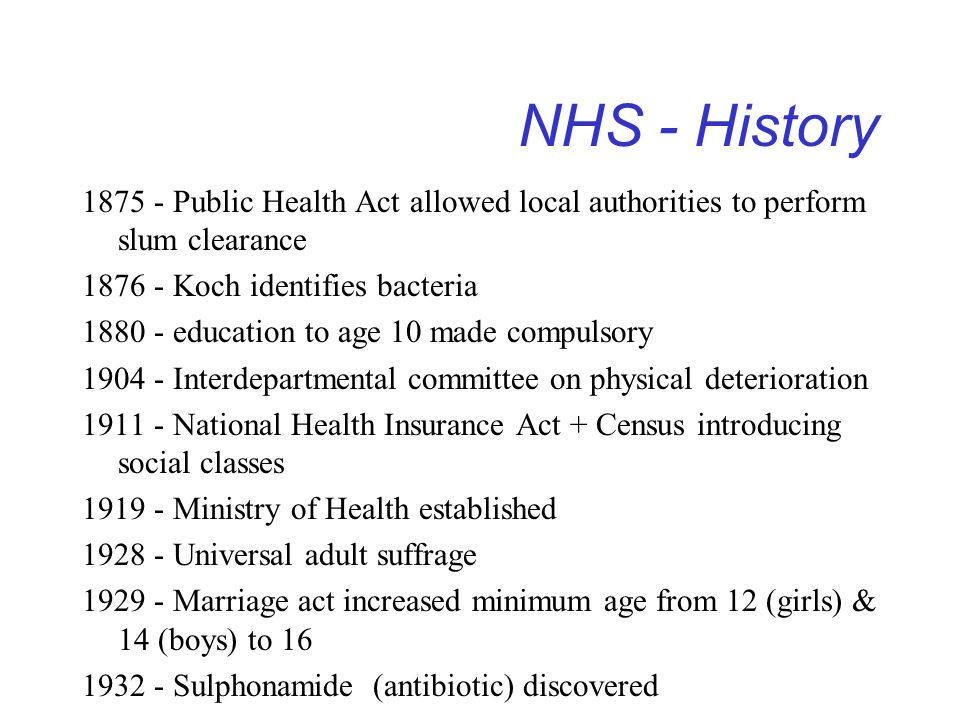 1875 - Public Health Act allowed local authorities to perform slum clearance 1876 - Koch identifies bacteria 1880 - education to age 10 made compulsor