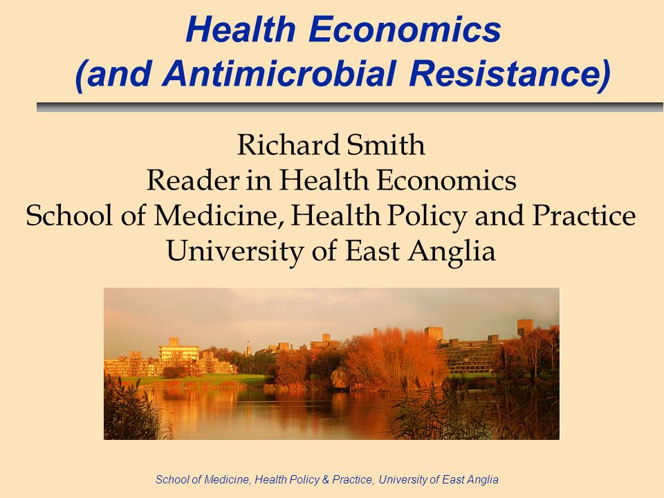 School of Medicine, Health Policy & Practice, University of East Anglia Summary results n GDP loss = ~£3-11 billion (~ 6-20% of total NHS expenditures) n Welfare losses imply society willing to pay ~ £8 billion to avoid AMR