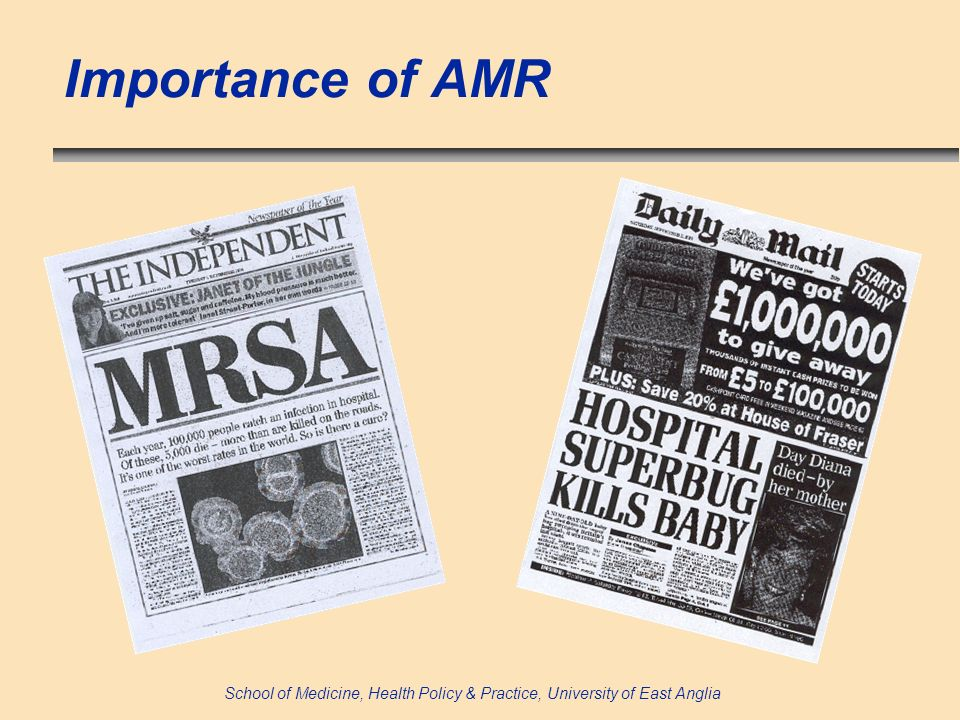 School of Medicine, Health Policy & Practice, University of East Anglia Importance of AMR