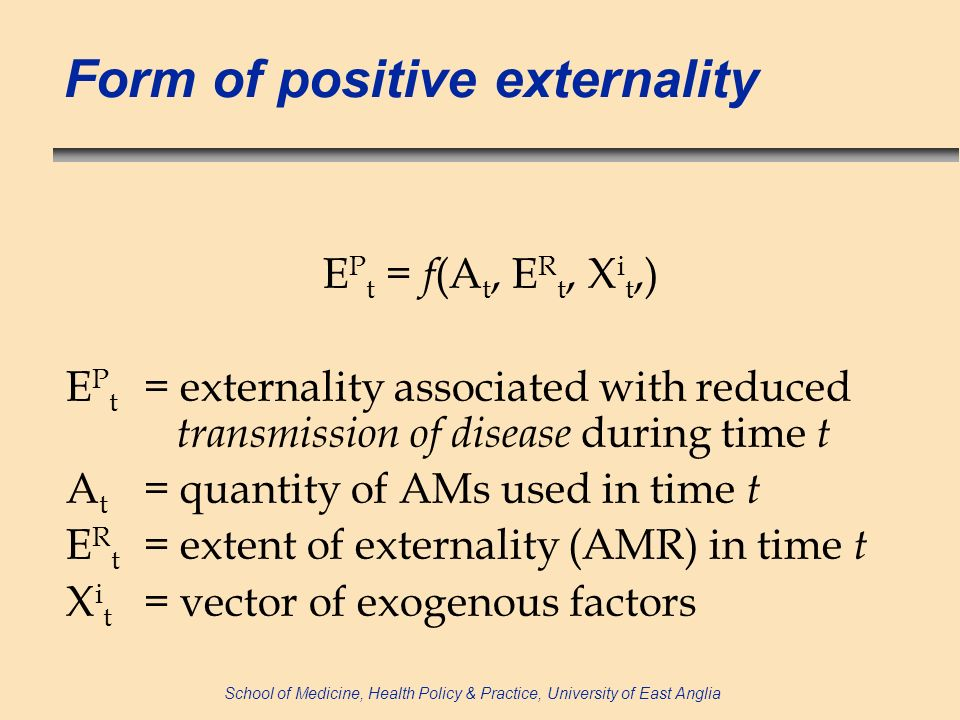 School of Medicine, Health Policy & Practice, University of East Anglia Form of positive externality E P t = f (A t, E R t, X i t,) E P t = externality associated with reduced transmission of disease during time t A t = quantity of AMs used in time t E R t = extent of externality (AMR) in time t X i t = vector of exogenous factors