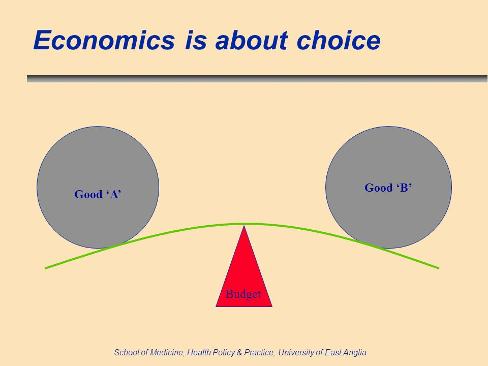 School of Medicine, Health Policy & Practice, University of East Anglia Economics is about choice Budget Good A Good B