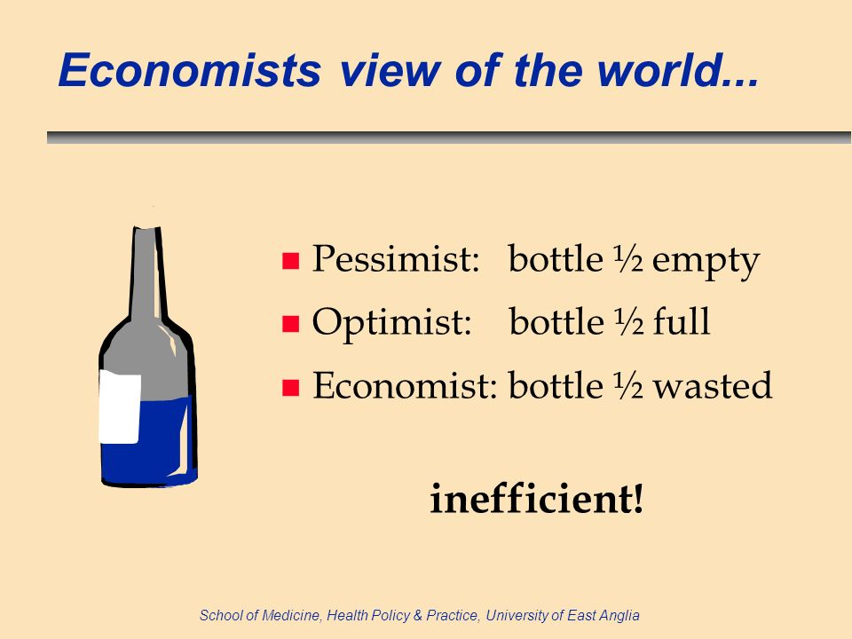 School of Medicine, Health Policy & Practice, University of East Anglia Economists view of the world...
