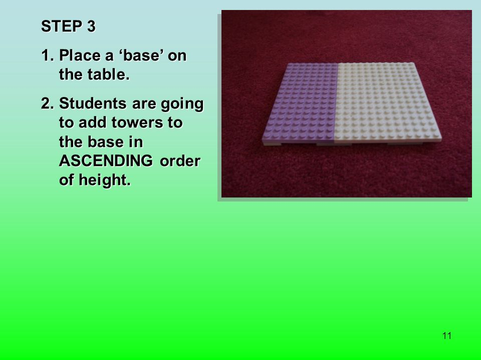 11 STEP 3 1.Place a base on the table.