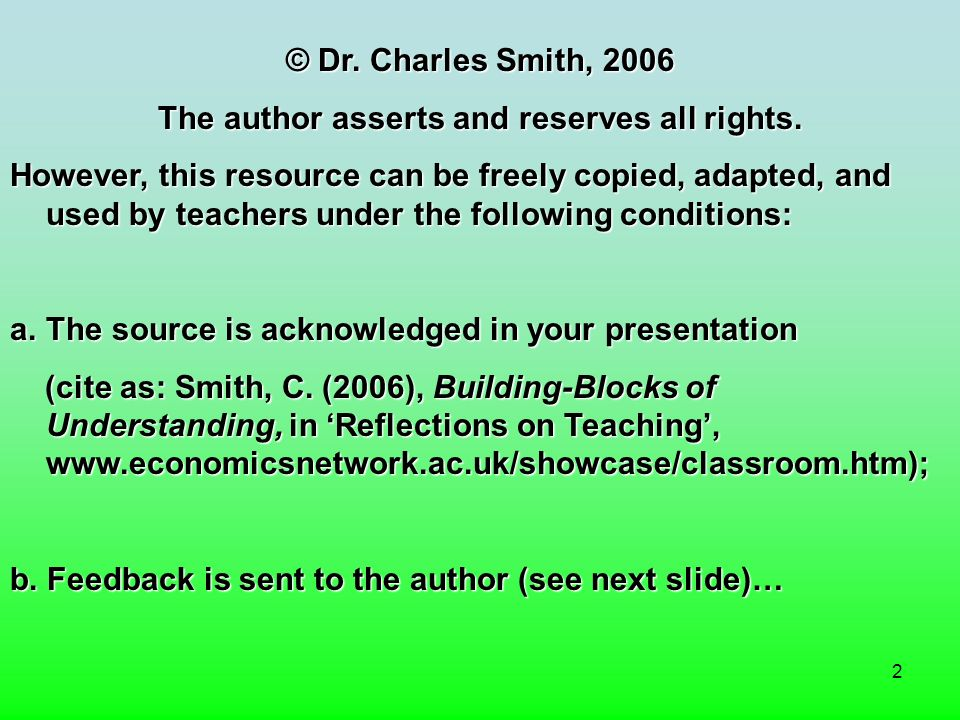 2 © Dr. Charles Smith, 2006 The author asserts and reserves all rights.