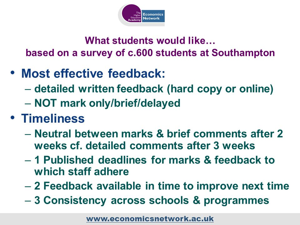 www.economicsnetwork.ac.uk What students would like… based on a survey of c.600 students at Southampton Most effective feedback: –detailed written feedback (hard copy or online) –NOT mark only/brief/delayed Timeliness –Neutral between marks & brief comments after 2 weeks cf.