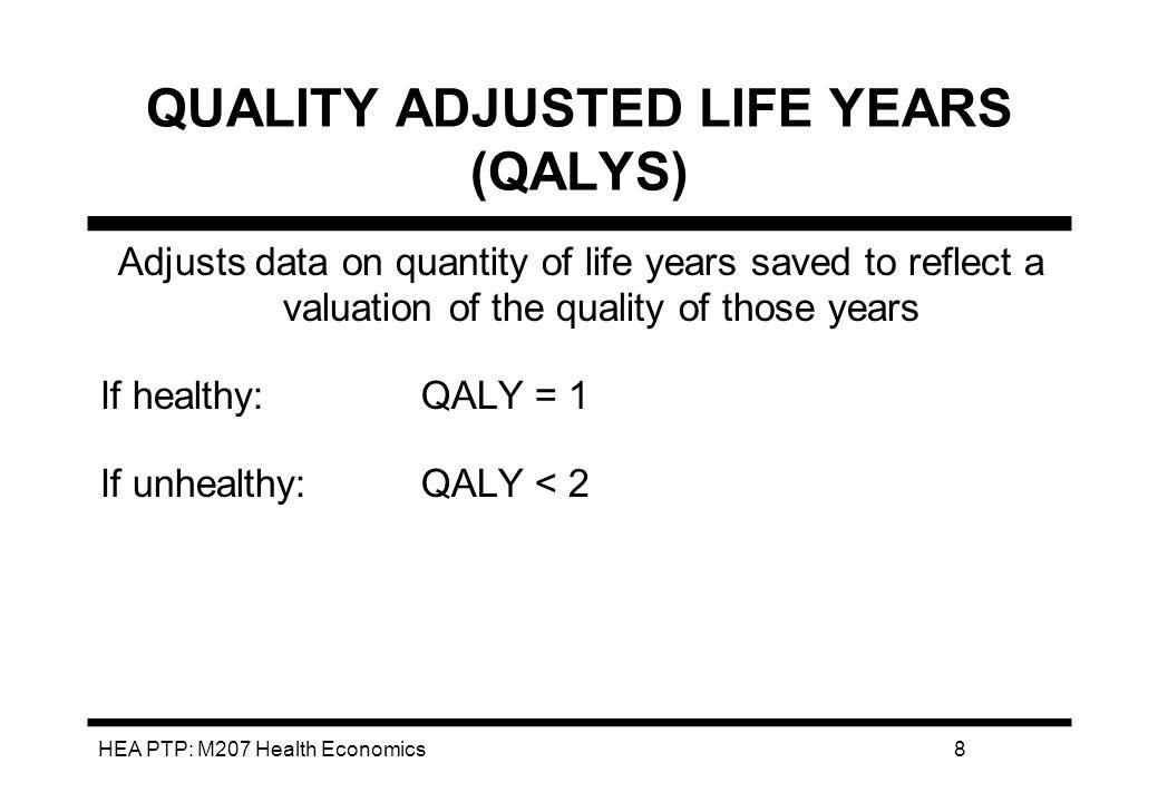 HEA PTP: M207 Health Economics9 QL Weighting