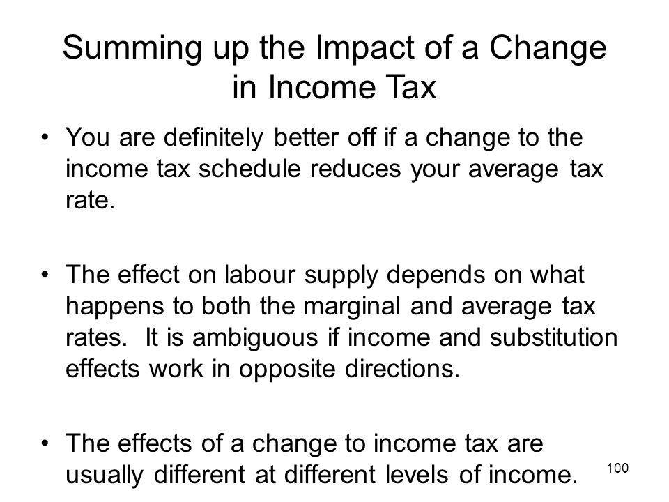 100 You are definitely better off if a change to the income tax schedule reduces your average tax rate. The effect on labour supply depends on what ha
