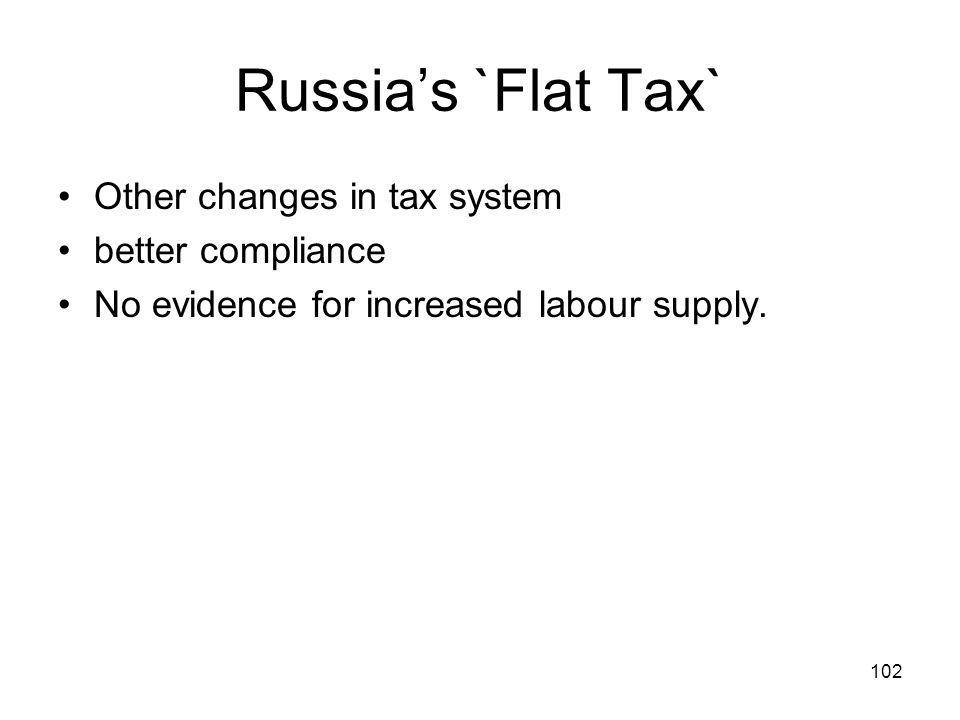 102 Russias `Flat Tax` Other changes in tax system better compliance No evidence for increased labour supply.